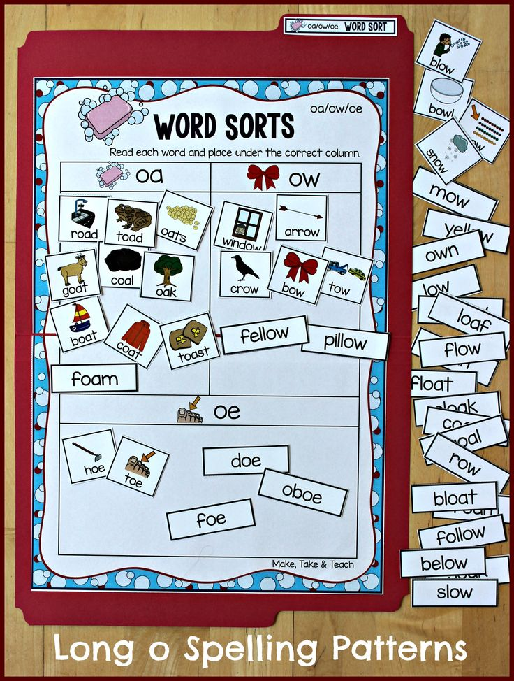 oa/ow/oe file folder word sorting activity. Great way to introduce the spelling patterns of long o.