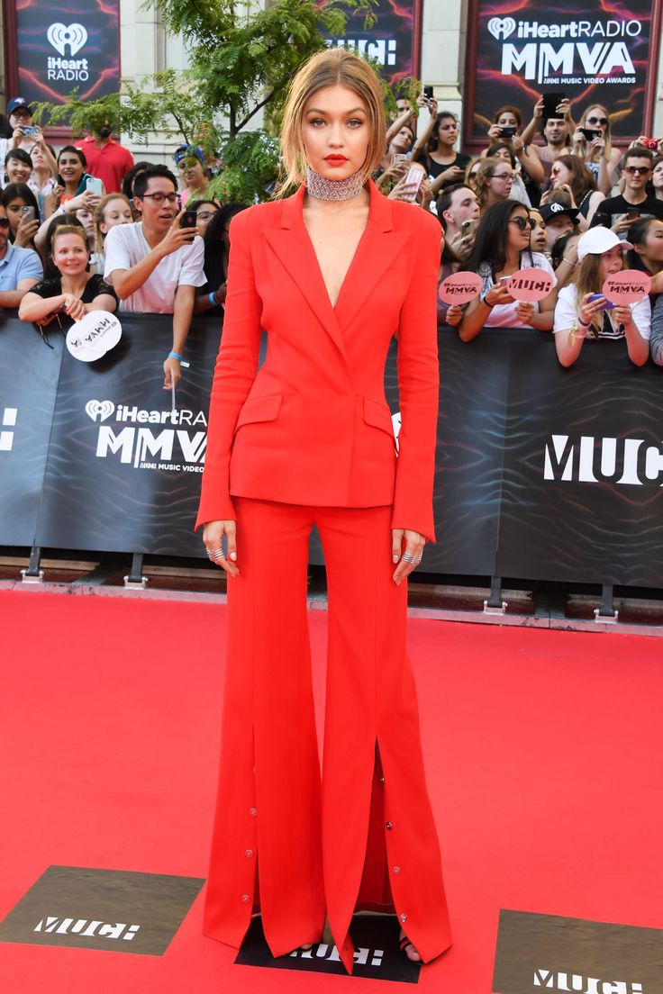 Gigi Hadid Is Red Hot in Her All Red Suit at the Much Music Awards  - HarpersBAZAAR.com