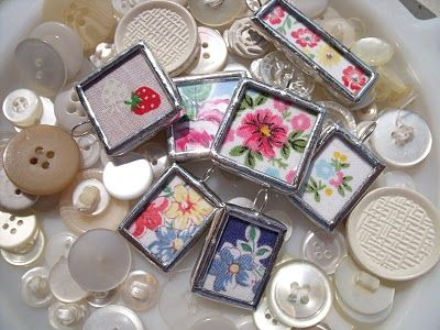 Hankie charms made out of vintage hankies. what a cute idea and seems like a simple craft to do.