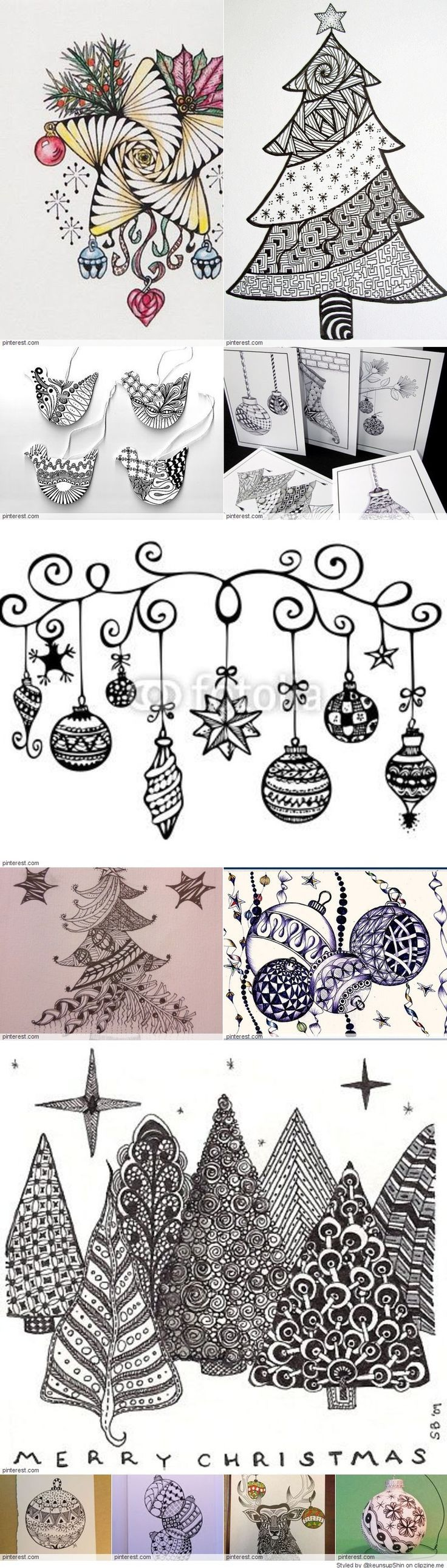 Christmas Zentangle Patterns #Arts Design