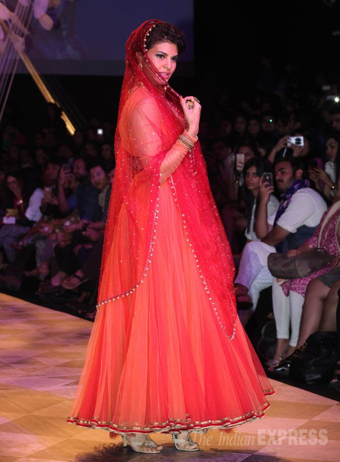Jacqueline Fernandez for Tarun Tahiliani https://www.facebook.com/TarunTahiliani at Lakme Fashion Week Summer/Resort 2014