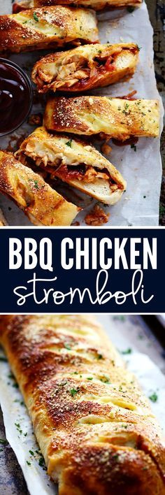 BBQ Chicken Stromboli is full of melty provolone cheese, chicken, caramelized red onions and sweet and tangy bbq sauce. This makes an amazing quick and easy meal or appetizer!
