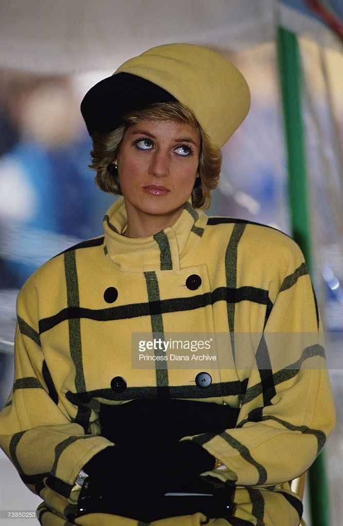 December, 1989: Princess Diana (1961 - 1997) wearing an Escada coat with a hat by Philip Somerville at the naming of the patrol boat Vigilant on the Isle of Wight.