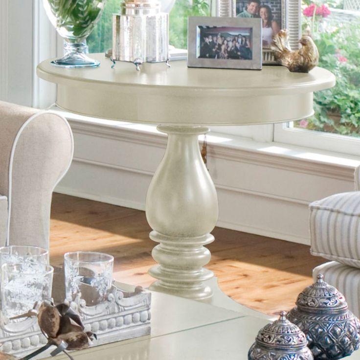 Paula Deen Home Round Wood Pedestal Side Table - Linen - 996817