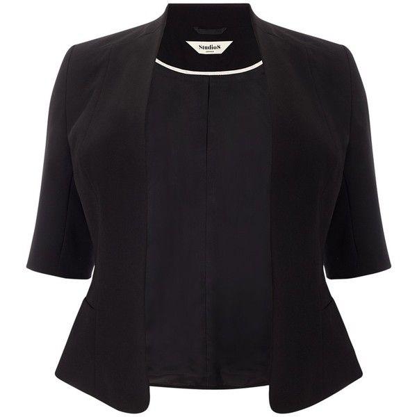 Studio 8 Lexi Jacket, Black ($145) ❤ liked on Polyvore featuring outerwear, jackets, blazer, open front jacket, black jacket, short black jacket, womens plus size jackets and plus size black jacket