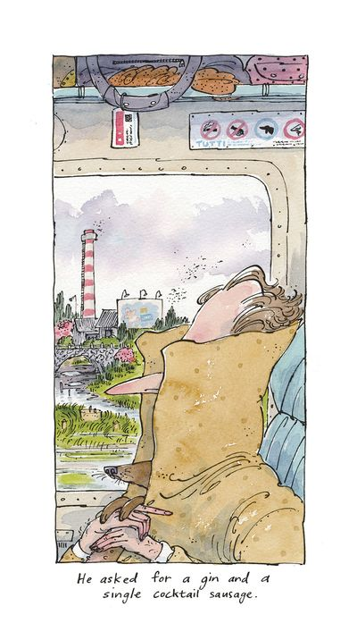 Theodore Key Illustration, pen and ink, watercolour. Dog on the train.