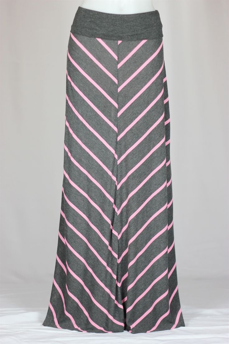 Pink and Gray Long Maxi Skirt
