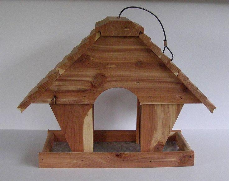 Garden Treasures Cedar Birdhouse Shape Fly Through Hanging Bird Squirrel  Feeder