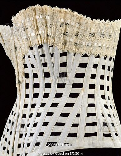 p 73Whalebone corset - women wore them to force the middle of their bodies to appear smaller, and they actually used whale bones to make some of them!  Imagine how uncomfortable a hug would be!