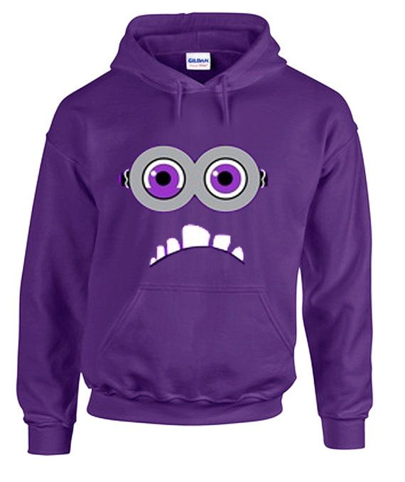 Despicable Me 2 Two eyed purple Minion Hoodie in Purple for Adults and Youth Sizes available on Etsy, $23.99
