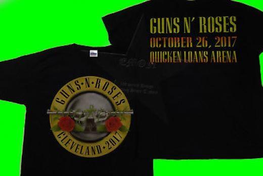 Gildan Guns N' Roses Cleveland Event T-shirt Oct 26 2017 Quicken Loans Arena ~ Basic Tee Regular 100% Cotton Black Short Sleeve
