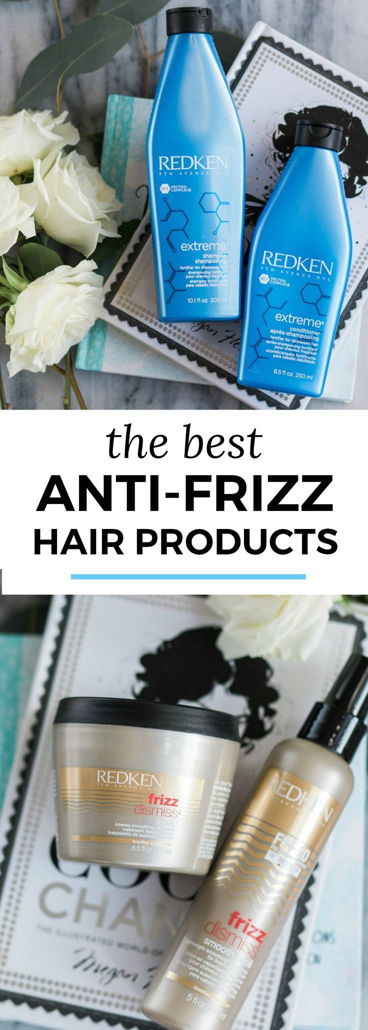 The best anti-frizz hair products for fine hair + Redken Extreme and Frizz Defense line review + my experience at Hair Cuttery #MyHCLook sponsored by @haircuttery | Best hair products, luxury hair care, Redken deep conditioner, hair mask, fine hair, fight frizz, beauty review, hair product review, hair product favorites, beauty blogger Ashley Brooke Nicholas, moisturizing hair mask for damaged hair