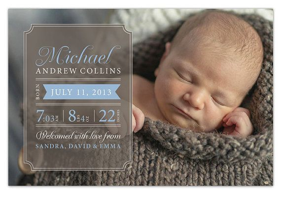 Boy Birth Announcement with Photo #customized #birthannouncement #card #stationery #babyboy #paperheartsbyj
