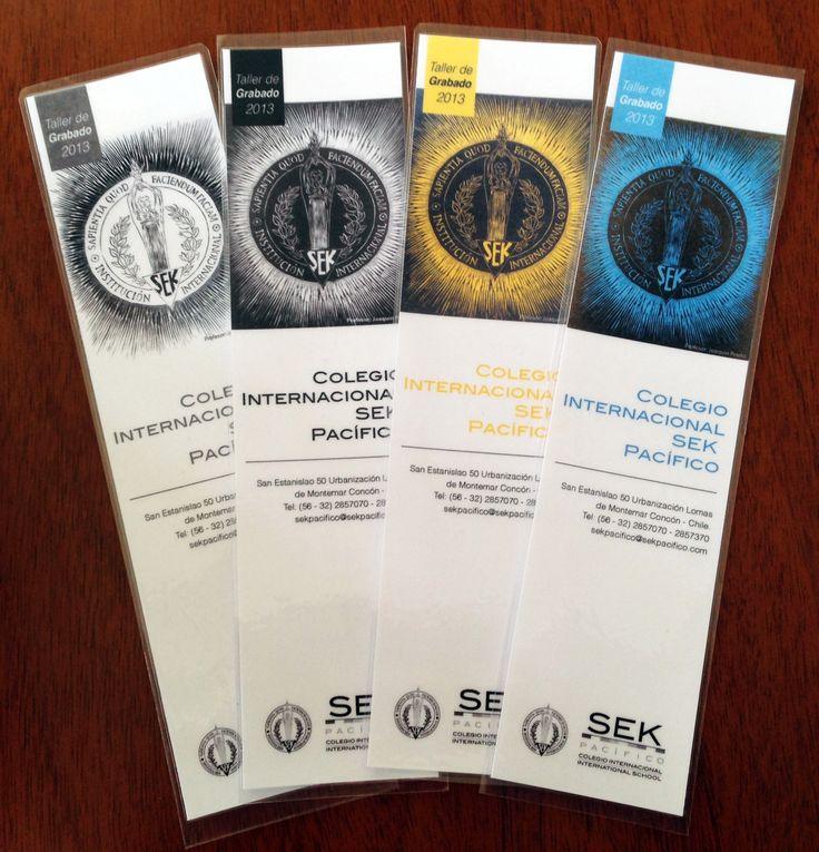 Diseño e impresión de marcadores de libros termolaminados para Colegio SEK Pacífico #Concon