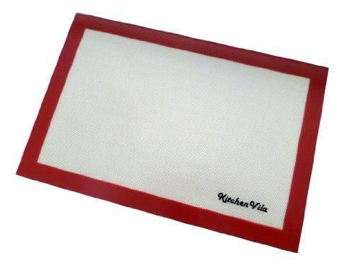 KitchenVila Silicone Baking Mat  Professional Non Stick Sheet Liner with Fiberglass Core  16 58 x 11 Fits Perfectly Half Size Baking Sheet Pan  Best Bakeware Cooking Set FDS  LFGB Approved  No Sprays Oils or Parchment Needed  Make You Healthy Save Time and Money  One Year No Hassle Guarantee -- Continue to the product at the image link.