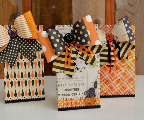 halloween favor bags made with brenda waltons french bow and sweet treat bag dies from sizzix - Halloween Treat Holders