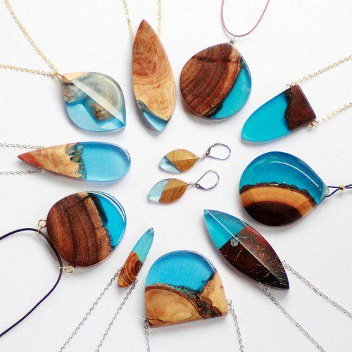 Прелестные украшения из дерева и смолы от Бритты Бекманн (11 фото)