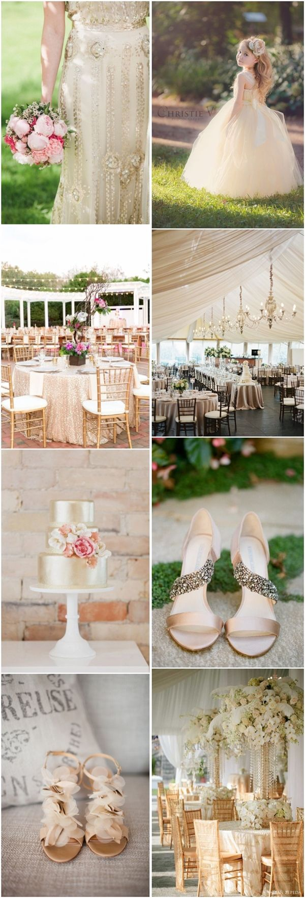 rustic champagne wedding color ideas / http://www.deerpearlflowers.com/23-elegant-and-classic-champagne-wedding-ideas/