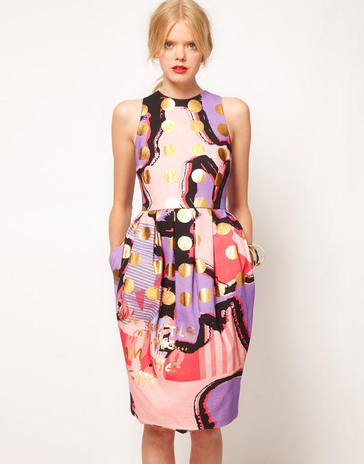 Spot dress: Fashion, Gold Polka Dots, Dresses Asos, Tulip Dresses, Asos Tulip, Asos Black, Spots Prints, Black Tulip, Asos Dress