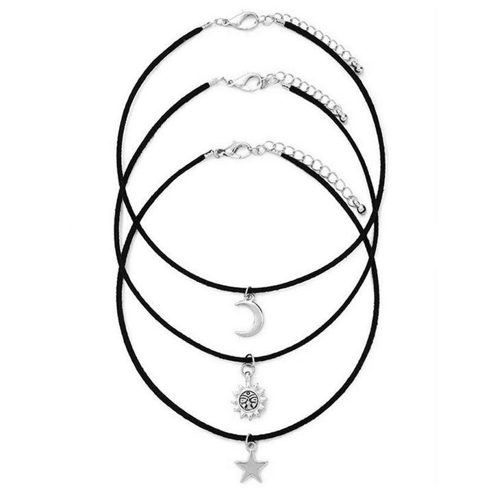 3 Pcs/Set Chokers Necklaces Vintage Star Moon Sun Alloy Pendants Necklace Fabric Cord Gothic Maxi Necklace Sets * Read more at the image link.