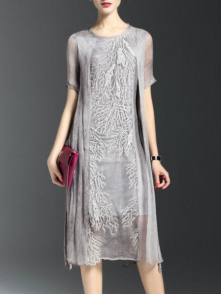 Shop Midi Dresses - Crew Neck Short Sleeve Silk Vintage Midi Dress online…