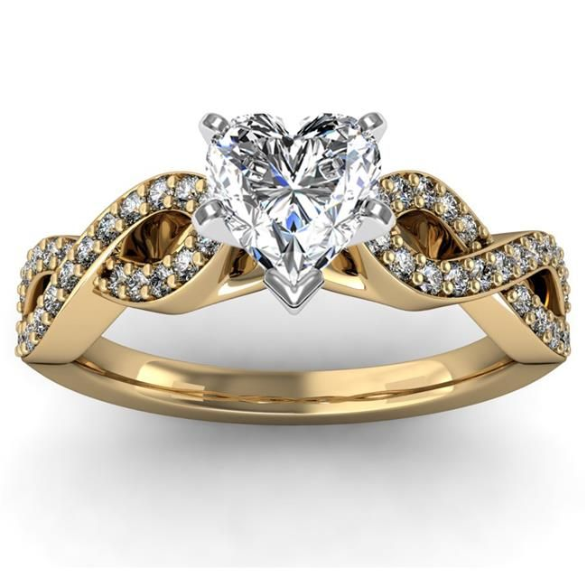 Antique Infinity Round Diamond Engagement Ring set is 14k Yellow Gold ( Heart Center Stone )