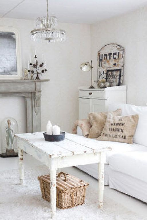 Rustic White Cottage Farmhouse Style Living Room