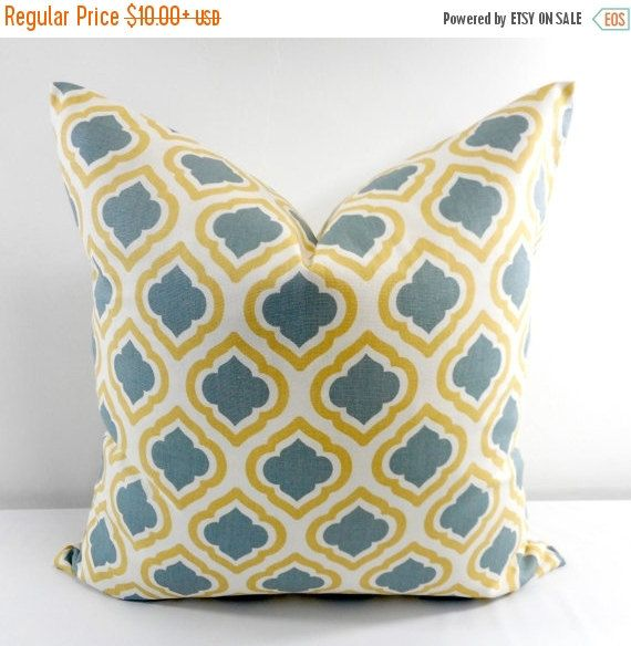 SALE Blue Grey  Pillow Cover. Curtis Macon by TwistedBobbinDesigns