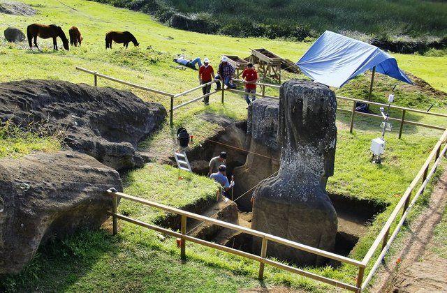 Trabajos de excavación en Rano Raraku  dónde se observa el cuerpo enterrado de los moais de Isla de Pascua que siguen dispersos en la cantera del volcán.