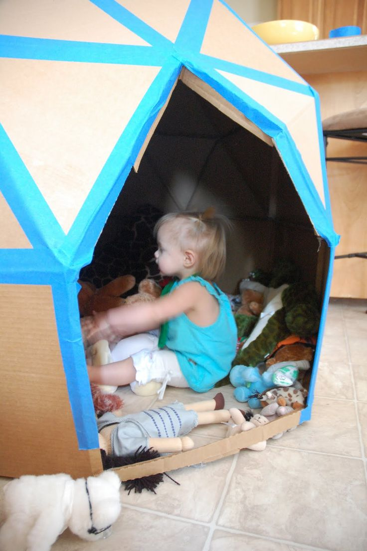 Turn Leftover Cardboard Boxes Into An Igloo Dome For Kids