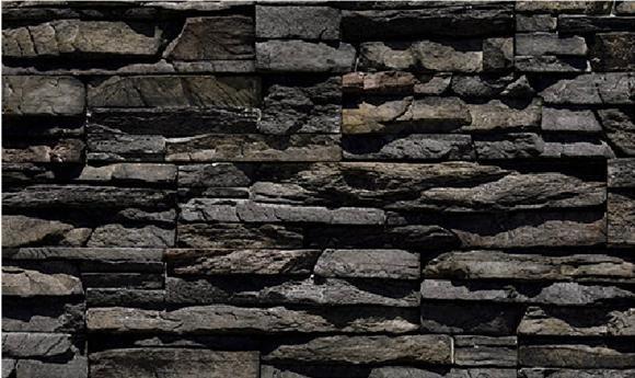 Black River Stacked Stone Fireplace Stone Basement
