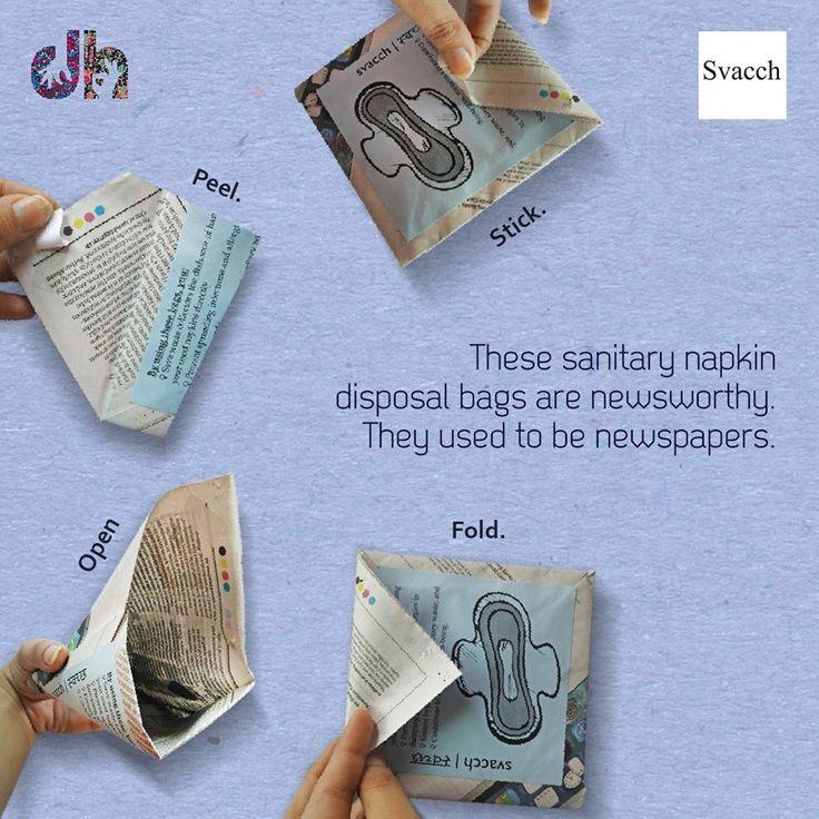 Bio-Degradable sanitary napkin disposal bags, made of recycled newspaper  #handmade #handicrafts