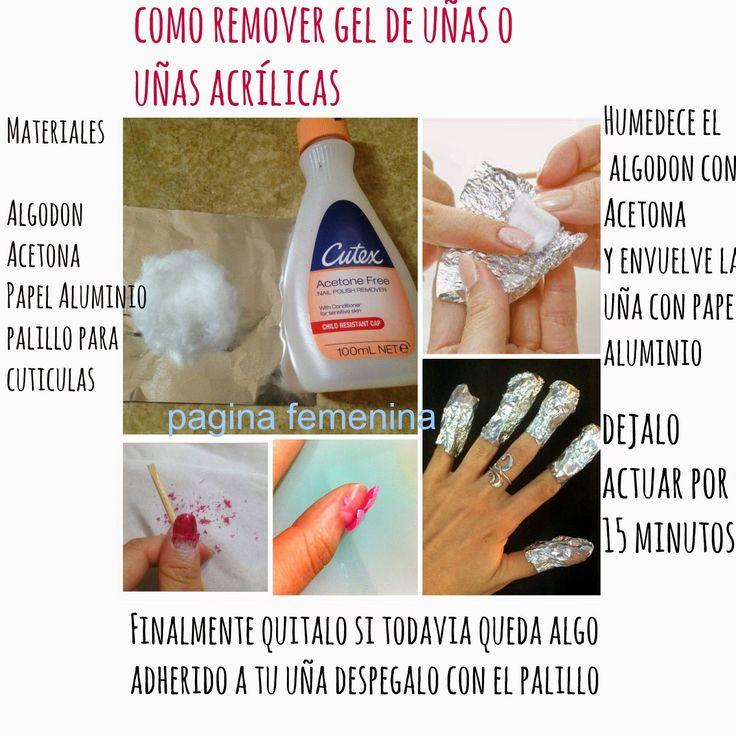 pgina femenina como remover gel de uas o uas acrlicas