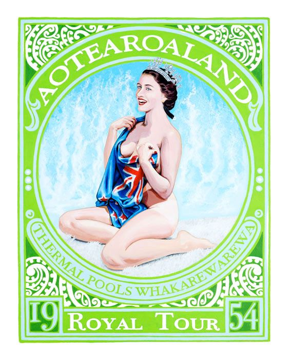 Aotearoaland, Royal Tour, Lester Hall, Artist, Bay of Islands, Kiwiana Series