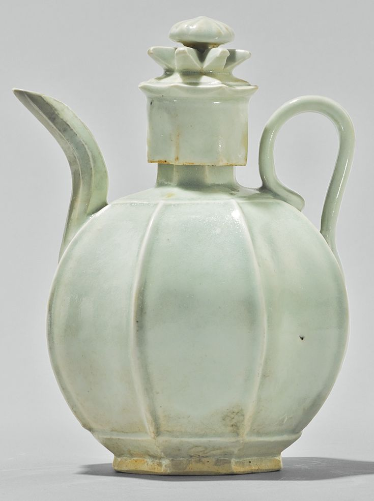 A Qingbai lobed ewer and a cover, Song dynasty
