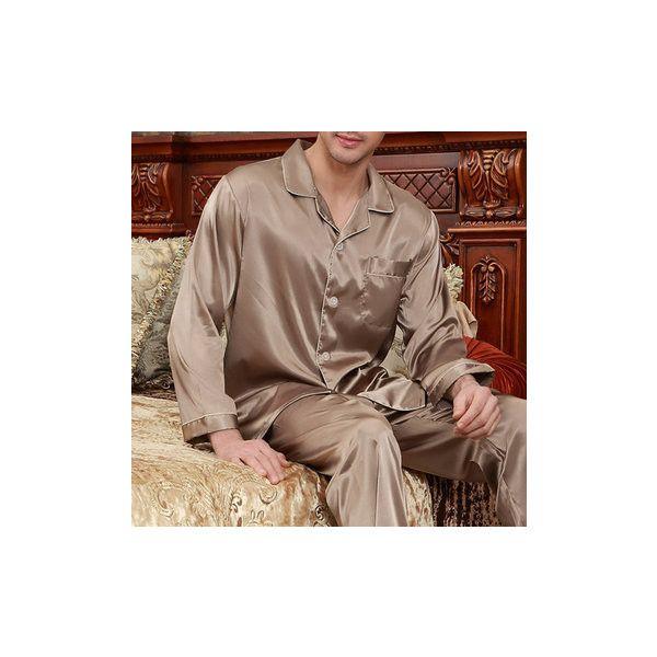 Soft Silk Sleepwear ($20) ❤ liked on Polyvore featuring men's fashion, men's clothing, men's sleepwear, men sleepwear pajamas, skin color, mens silk pajama set, men's apparel, mens clothing and mens silk sleepwear