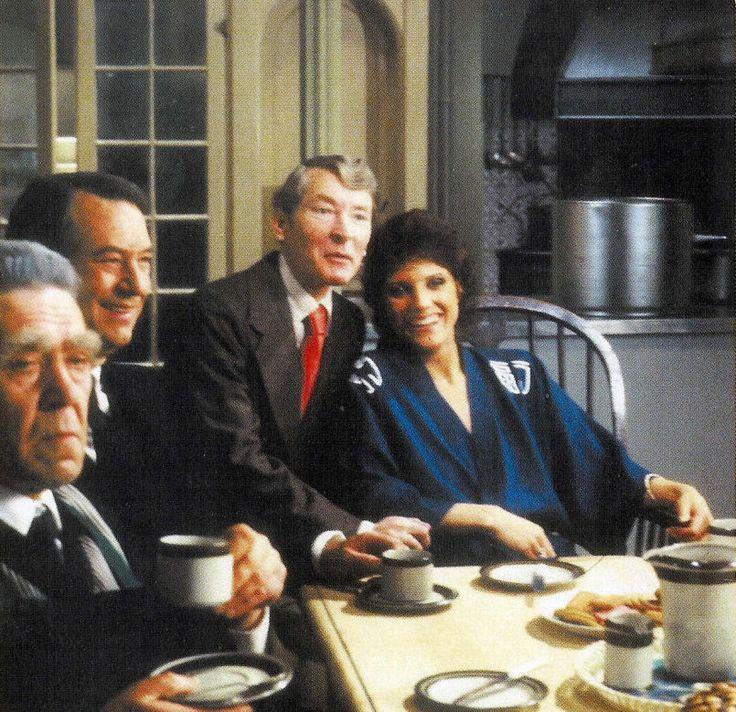 Peter Butterworth, Jack Douglas, Kenneth Williams & Suzanne Danielle on the set of Emmannuelle