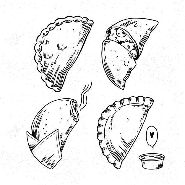 Coleccion Monocroma De Empanada Free Vector Freepik Freevector Empanadas Dibujo Logos Para Restaurantes Logotipo De Cocina