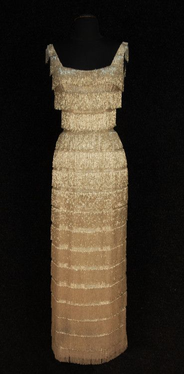 Beaded fringe evening dress (c.1960s).  Sleeveless column gown with scoop neck & shoulder straps