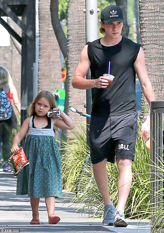 Too cute: Brooklyn and Harper looked inseparable when they stepped out in…