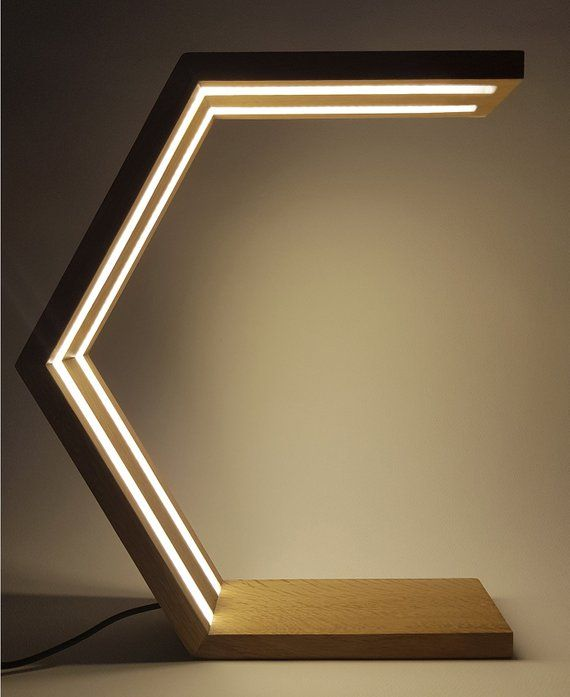 Wood Desk Lamp | Bedroom Lamp | Bedside Lamp | led lamp lights for indoor, hexagonal minimalist design, designer lamp