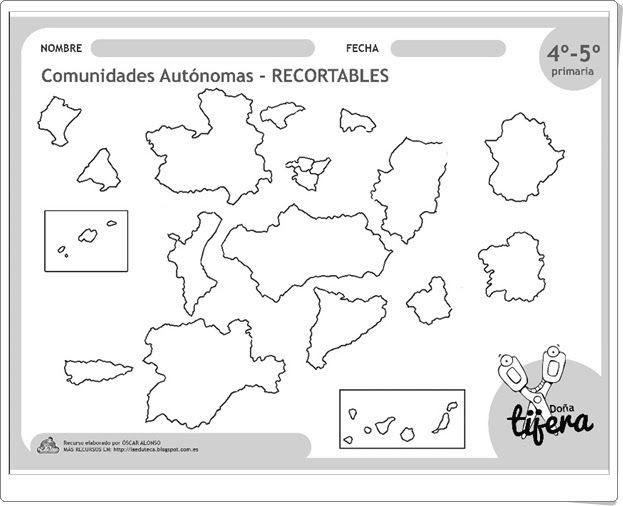 """""""Comunidades Autónomas"""" (Recortable de Ciencias Sociales de 4º y 5º de Primaria)"""