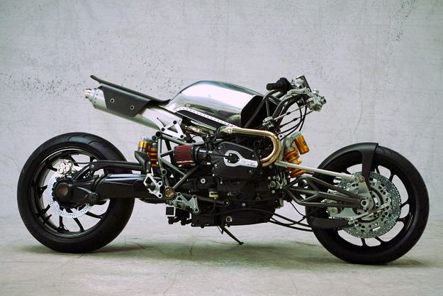 One of the most controversial European custom shops is Sweden's SE Service, run by Stellan Egeland. The latest SE motorcycle is the Harrier, a radical BMW-powered machine that Egeland is promoting as the first in a new line of 'modern customs'.