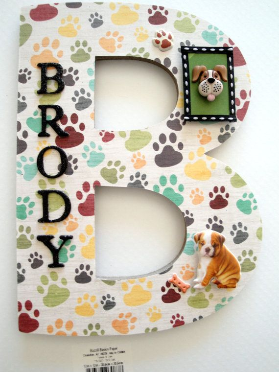Dog Name Personalized Gift Single Initial by BearySpecialScrappin
