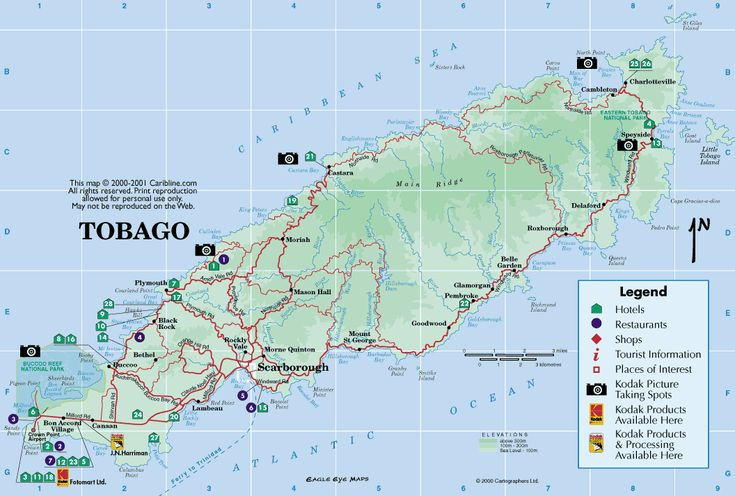 Map of Tobago from Caribbean-On-Line