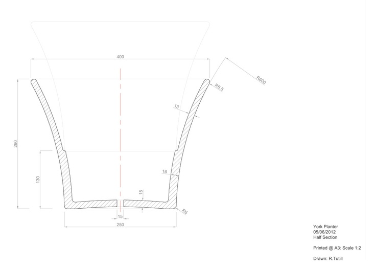CADraftDesign - Current Works, 2d section - Plant pot