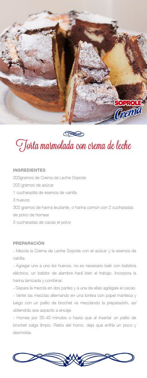 Torta Marmolada de Crema de Leche