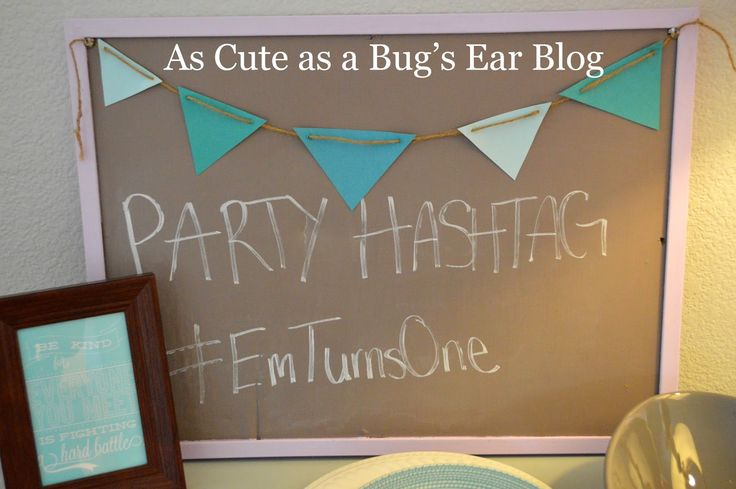As a mom blogger I got a kick out of this! Personalized Hashtag for party!  #babygirl #birthday #shabby #chic