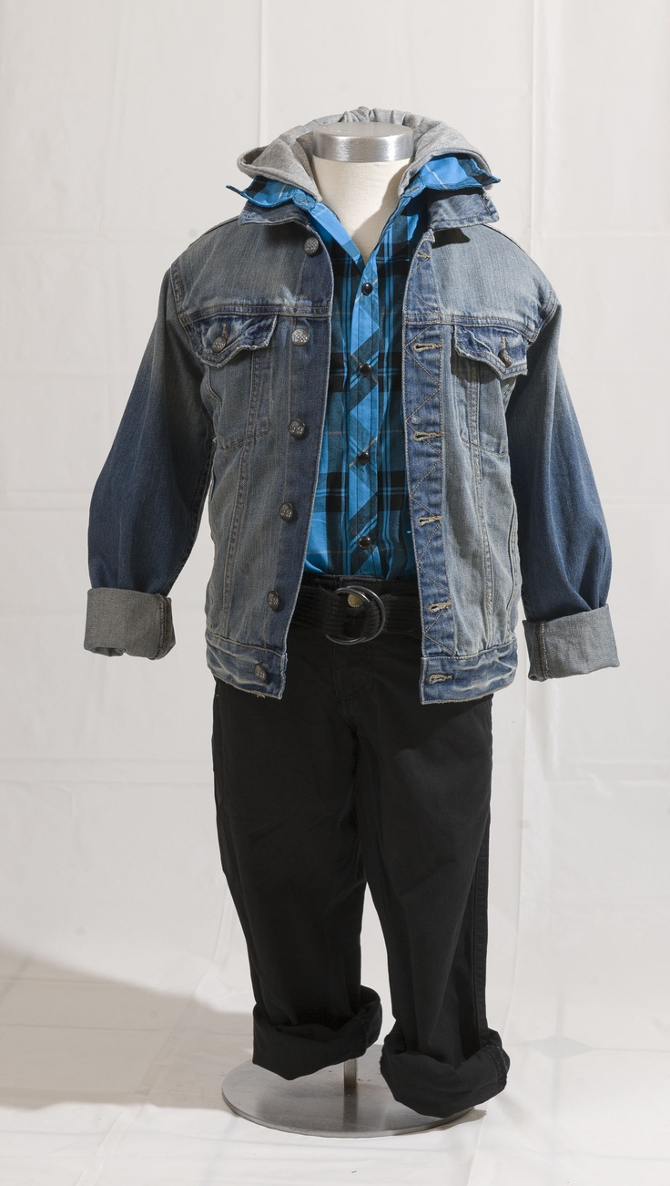 RETRO COOL: Jean jacket by TheChildrensPlace.com, $24.95 (sizes 4-14); black pants from Nevada, $24.99 at Sears.com (sizes 7-16); blue checkered shirt with grey hood by Extreme Zone, $24.99 at Sears.com (sizes 7-16). Enter to win a $ 500 shopping spree with @TheProvince and Brentwood Town Centre: http://theprov.in/pinandwin #backtoschool
