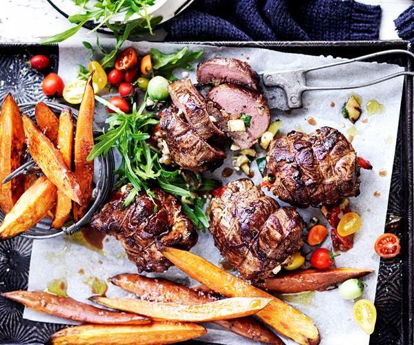 Feta Stuff Lamb Roast Recipe with Grilled Vegetables recipe | Food To Love